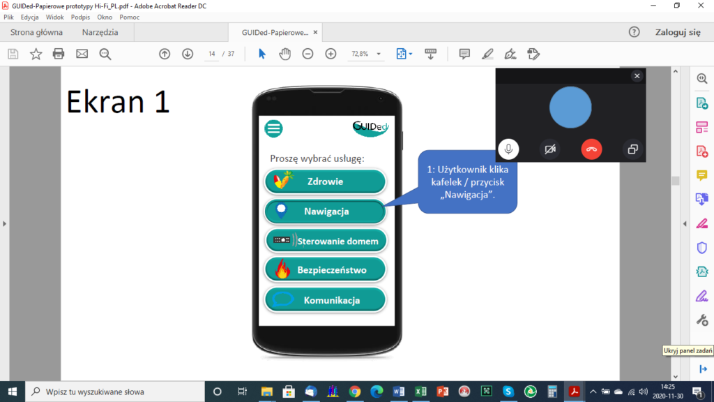 Screenshot of a Skype meeting with end users about GUIDed paper prototypes.